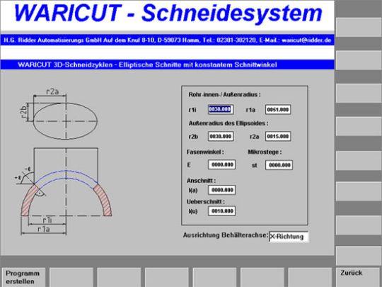 Screenshot: Elliptical penetration in the tube