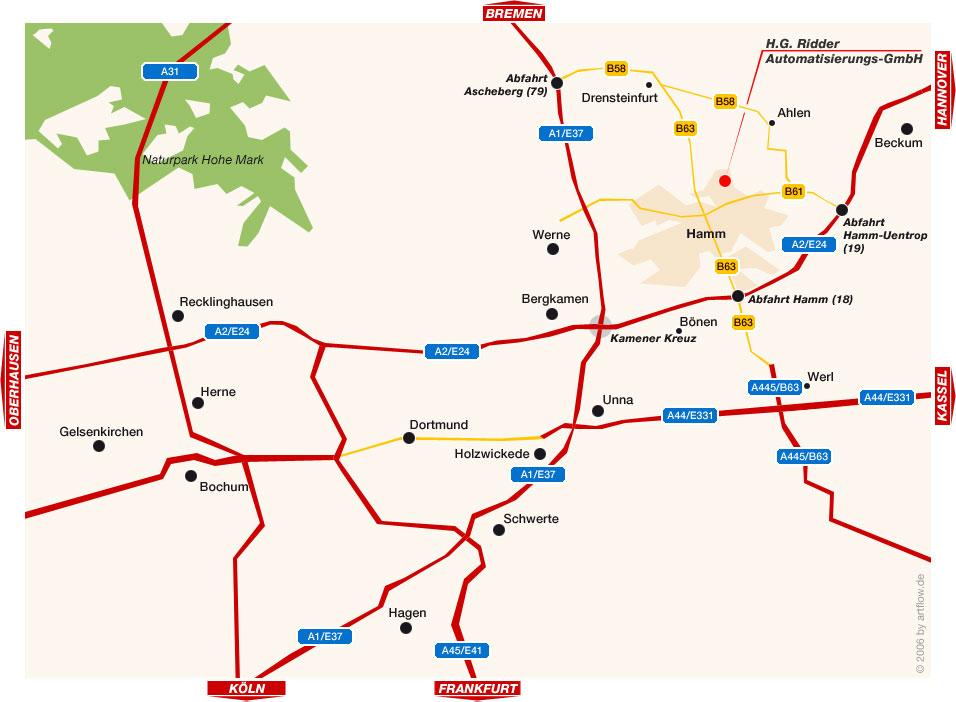 Lageplan Ruhrgebiet (Ost)
